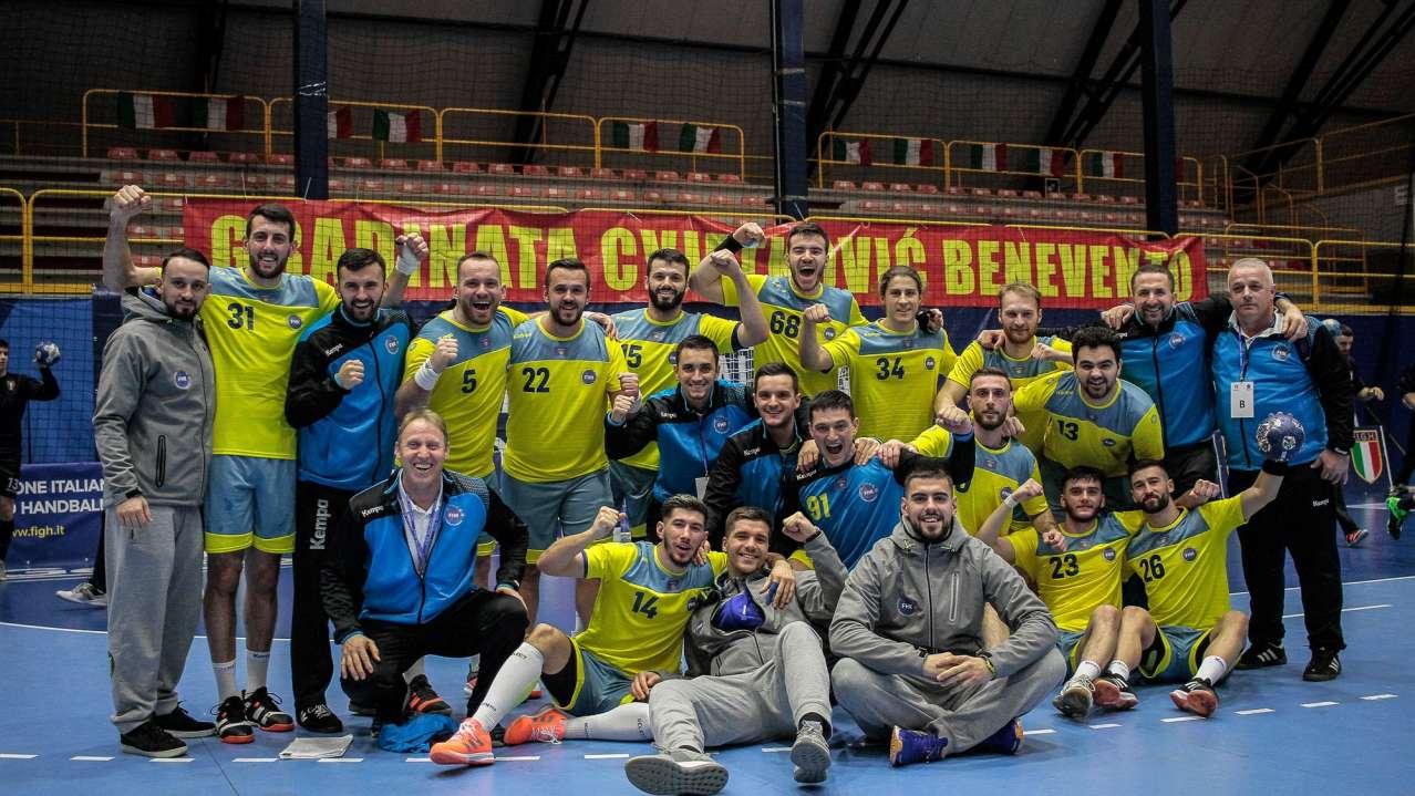 Kosovo national handball team celebrate after victory with Georgia